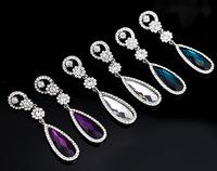 Fashion Noble Stellux Austria Crystal Flower Wedding Water Drop Earrings FREE SHIPPING
