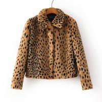 2014 new Vintage Autumn winter Women Plus Large Leopard Covered Button Jacket coat Slim Fit With Shoulder Pad coat Outwear