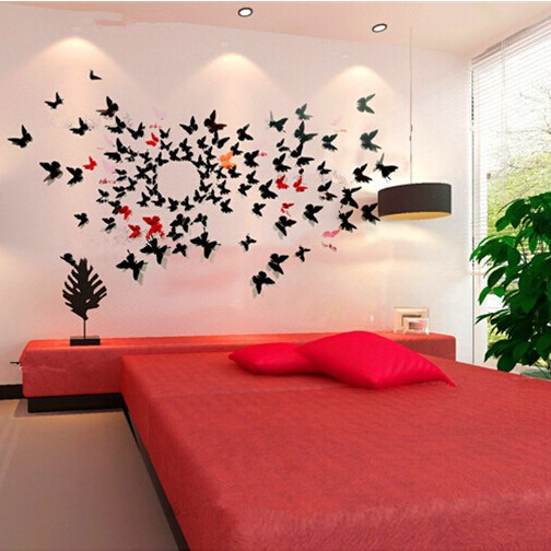 12Pcs New Cute 3D Butterfly Flower Wall Sticker Home Decor Removable PVC Plastic Butterfly Wall Stickers For Kids Rooms GM170(China (Mainland))