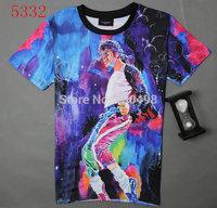 Free shipping Fashion hip hop men's 3d T-shirt print King of Rock and Roll Michael Jackson 3d t shirt for men Boy Tshirt