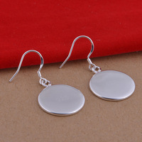 Pure 925 sterling silver earrings jewelry trade licensing round glossy popular spot wholesale Earrings
