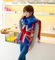 European and American retro Union Jack scarf thick cashmere shawl with tassels increase!!!!!FREE SHIPPING