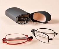 I-bright 2015 Men/women high grade fashion reading glasses metal folding reading eyewear presbyopic eyeglasses with case