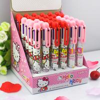 5pcs ballpoint pen Hello Kitty 6Colors ballpoint pen children gift lovely cartoon learning stationery 12-12-YS