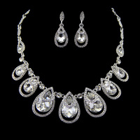 European choker necklace earrings crystal water drop jewelry sets wedding accessories silver plated elegant bridal party 0174