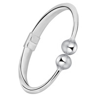 Free Shipping Spring Ring Clasp two beads Fine 990 Silver Bangle,100% Genuine 999 silver Bangle Bracelet