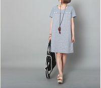 Newest european style women's A line dress fashion striped light blue grey color mini one piece dress on sales! OMBG 025