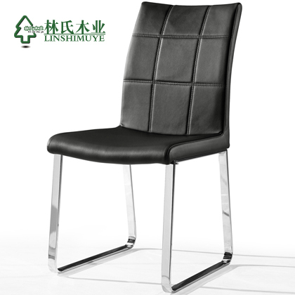 Lin Wood black leather backrest modern minimalist fashion casual dining chair dining chairs home furniture CY912 *(China (Mainland))
