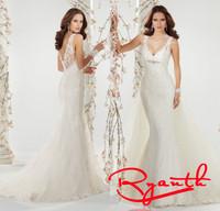 Vestido De Noiva 2015 Sereia Princess Long Mermaid Lace Beaded Wedding Dress Custom Made Bridal Gown Vestido Noiva Sereia RBW255