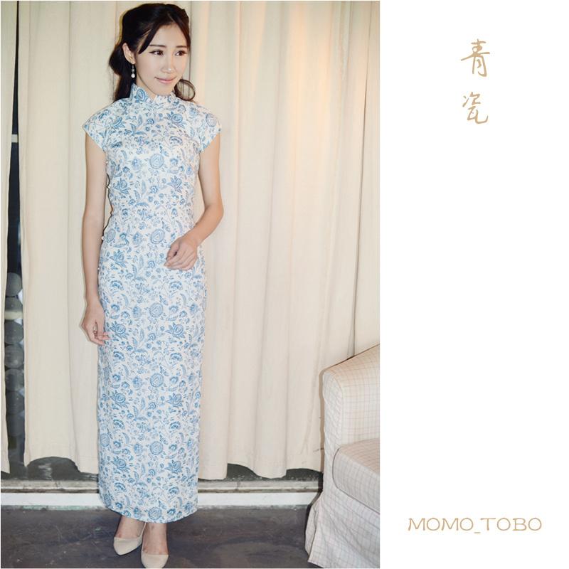 Momo cheongsam / May new retro high collar small literary linen dress even celadon Sleeve(China (Mainland))