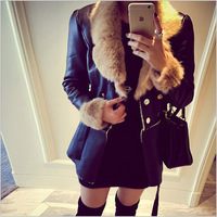 2014 Winter and autumn Jacket Women Cotton Down Luxury Large Fur Collar Coat Female long Thick Outerwear