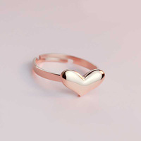 18KGP Rose Gold Plated Titanium Steel Open Heart Rings Fashion Brand Jewelry for Women Free Shipping (GR013)