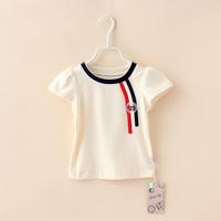 Baby Girls Casual T-shirts Summer Bebe Up Brand Organic Cotton Kids Tops Fashion Soft Children Short Sleeve Clothing 4pcs/lot