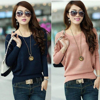 2014 Women Knitted Batwing Hollow Casual Loose Pullover Sweater Jumper Tops