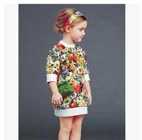 Hot brand new girls flower dress children fashion princess floral dress 7pcs/lot