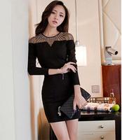 Ladies' night sexy socialite dew shoulder bag hip nail bead perspective render long-sleeved dress