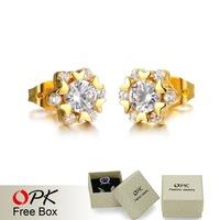 OPK Brand Classical Women Crystal Stud Earrings Fashion Simple Heart Design 18K Gold Plated Jewelry Earring Allergy Free KE629