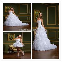 New Elegant Detachable Two Pieces Beautiful Sweetheart Flower Garden Bridal Gowns A-line Ruffles Organza Cheap Wedding Dresses