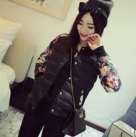 Hot Selling,Free Shipping,Women's Slim Warm Zipper Cotton Coat,Leisure Splice Floral Sleeve Cotton Jacket,Size S-XL,2 Colors
