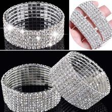 1/2/3/4/5 Rows Bracelet Fashion Wedding Jewelry For Bridal, Crystal Rhinestone Stretch Bracelet Bangle Bling Wristband For Women(China (Mainland))