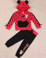 Children's Clothing suit set boys children 2 pcs suit Cartoon Minne girls clothing set coat hoodie+pants autumn baby set