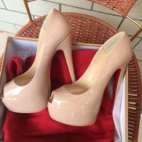 Free shipping woman big size brand designer simple concise black nude beige fish peep toe hidden platform 16cm heel pump shoes