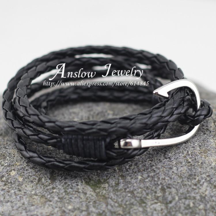 LOW0022LB 2015 New Arrival Vintage Rock Jewelry Leather Bracelet Hooks Bracelets For Women Men Best Friend Gift Free Shipping(China (Mainland))