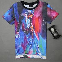 Free shipping 6 styles Fashion hip hop men 3d T-shirt print King of Rock and Roll Michael Jackson 3d t shirt for men Boy Tshirt