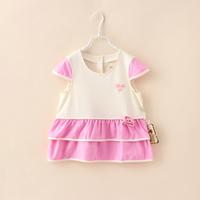 Baby Summer Dress Toddler New Fashion Girls Casual Dress Flower Princess Children Organic Cotton Bebe Up Brand Clothing 4pcs/lot