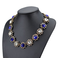 glass crystal necklace fashion blue glass crystal stone full rhinestone necklace crystal bib statement necklace for women