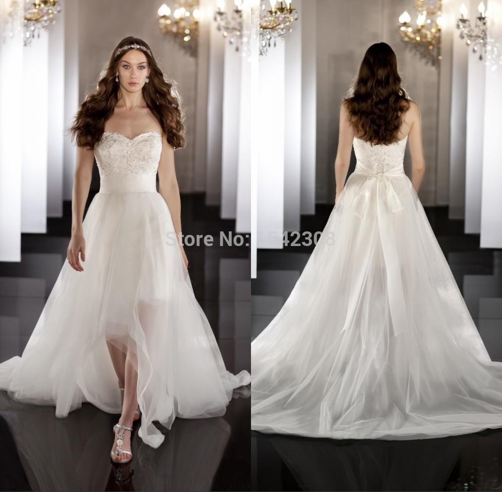 Free ShippingHot Sale Glamorous Tulle Bridal Gown Sweetheart Neckline White A Line Sleeveless Wedding Dress Short Front Long Bac(China (Mainland))