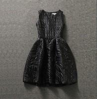 Fashion Women's 2014 New Winter Dress Vintage Cotton-Padded Thermal Casual Dress Elegant Warm Sleeveless Tank Dress 2 Colors