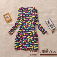Free shipping 2015 spring new Korean version of the fresh color printing bow elegant lady Slim dress