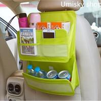 Green polyester abric Car Auto Vehicle Seat Side Back Storage Pocket Backseat Hanging Storage Bags Organizer Free shipping