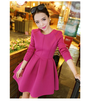 ladies candy-colored flouncing round neck long sleeve dress Slim rose red bud dresses