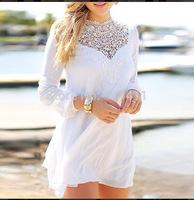 Sexy Plus Size Swimwear Suit Bathing Lace Mini Bikini Patchwork Chiffon Long Sleeve White Embroidery Overalls Mini Beach Dress