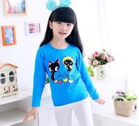children spring princess shirts baby girls fashion cute cats printing long sleeve shirt flower girl fashion clothing JL-2180
