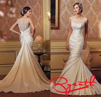 Vestido De Festa Longo Com Pedraria Dress of Bridal Sexy Mermaid Wedding Dresses Brides Dress Plus Size Wedding Gowns RBW257