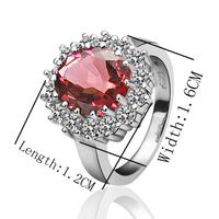 Free Shipping New Fashion Luxury Women Wedding Jewelry 18k Gold Red Crystal Gem Zircon Female Finger Flower Rings Gifts 18R033