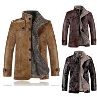 Leather Jacket Men Winter Jackets and Coats Thickening Wool Windbreak Waterproof Warm Skin Lamb Fur Trench Coat Plus Size XXXL