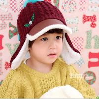 2015 Autumn Winter Unisex Children Hat 3-8 Years Old Fashion Plus Velvet Warm Wool Ear Cap HT021