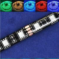 Free shipping NEW 5M 300 Leds 3600-4200LM Glue Waterproof IP65 DC12V Black PCB Board RGB LED Strip Light SMD5050
