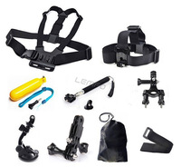 9 in 1 Chest Belt Strap Mount+ Head Strap+Floating Grip+Handlebar Seatpost+Monopod+Suction Cup For GoPro Hero 1 2 3 Accessories