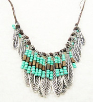 Fashion Ethnic Jewelry Bohemian Handmade Leaves Tassel Choker Necklace Beaded Vintage Pendant Collares Necklace Gift For Women