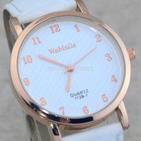 New WOMAGE Numerals Dial Denim PU Leather Casual Men Women Quartz Wristwatches Unisex Wrist Watch Gift