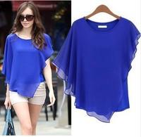 European and American women's summer new large size chiffon shirt short-sleeved round neck bat irregular flounced chiffon blouse