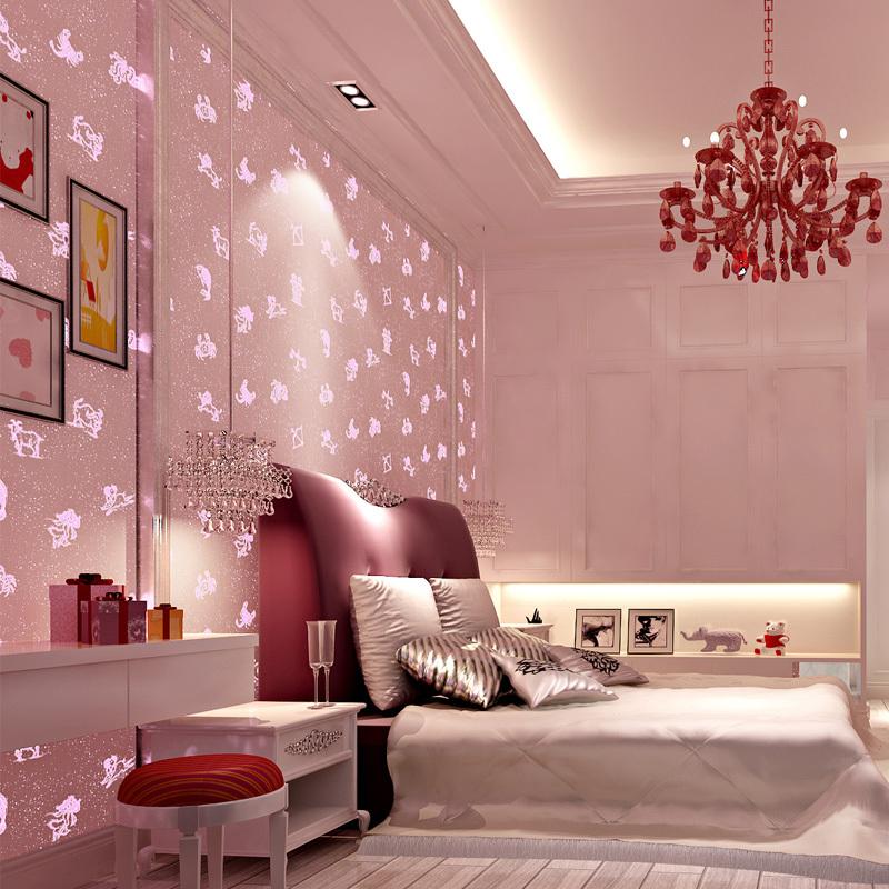 Pink Mediterranean stars luminous wallpaper non woven fluorescent ...
