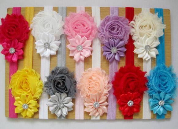 New Rhinestone Headband Hairband Baby Girls shabby Flowers Headbands Kids Hair Accessories Baby Christmas Gift(China (Mainland))