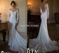 Romantic Brand vestido de noiva V-neck Beading Lace Full Sleeve Sexy Open Back Chapel Train Mermaid Wedding Dress 2015