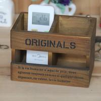 Multifunctional remote control storage box wooden box wool vintage wood sundries desktop pen holder 16.5*10.5*11.3cm